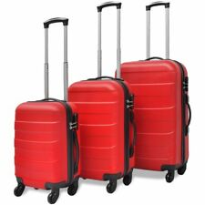 3pcs 4 Wheels Rolling Suitcase Luggage Trolley Hardcase Set Family Travel Red