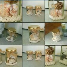 *Used* Lovely Pair 2 x Decorative ♡JAR of SHELLS♡ Home Beach Decor~Arts & Crafts