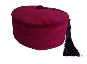 Smoking Cap Maroon Cotton Velvet Handmade  Size 58.5cms