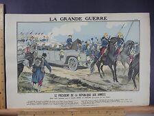 Rare Antique Orig VTG WW1 Président de la République Aux Armées Litho Art Print