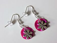Silver Plated Iridescent Bright Pink Round Shells Daisy Flower Hook Earrings