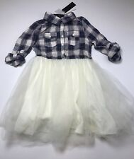 W Girl Dress Plaid Tulle Size L 8-10 Years New READ LBFO