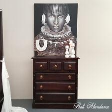 Classic Teak Wood 6 Drawer Chest of drawers Walnut Tallboy bedroom Brass handles
