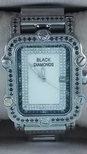Rare CM Black Diamonds & Cartier Stainless Steel Band Mens Watch