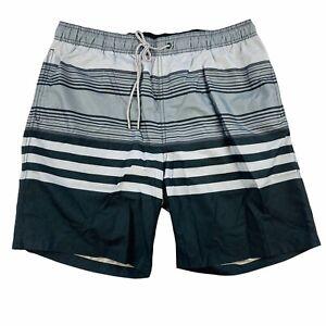Kirkland Signature Mens Swim Shorts Trunks NWT Size Large Black Gray Stripe