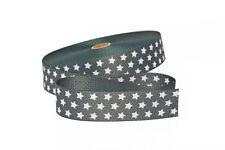 1 m Gurtband in grau mit weißen Sternen  30 mm