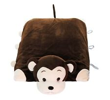 Pillow Pet - Monkey 100% Natural Latex Pillow with Case Foldable Pillow Toy Kids