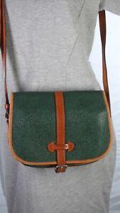 Toscano Leather Green Tan Crossbody Boho Satchel Saddle Flap Over Shoulder Bag