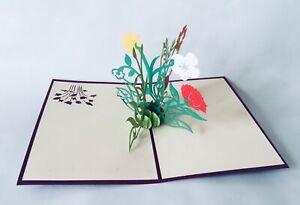 Blumenstrauss, 3D-Klappkarten, Pop-up Karten, Glückwunschkarte, Grußkarte,