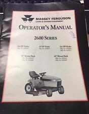 MASSEY FERGUSON OPERATOR'S MANUAL LAWN & GARDEN EQUIPMENT 2600 SERIES