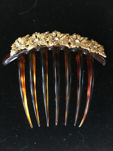 Kirks Folly Gold-Plated Flower and Crystal Plastic Hair Comb NEVER WORN! DEFECTS