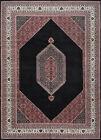 Vintage Indo Bidjar 10'x14' Black Wool Tribal Hand-Knotted Oriental Rug