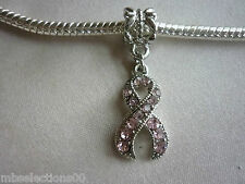 1 x Pink Rhinestone Cancer Awareness Ribbon Pendant Charm suit European Bracelet