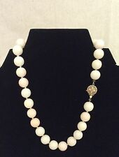 """Vintage Estate 15"""" L Angel Skin Coral Bead Necklace with 14K Gold Clasp"""