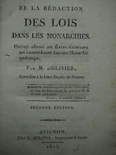 DE LA REDACTION DES LOIS DANS LES MONARCHIE M.d'Olivier Restauration Nimes