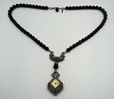 Deco Crystals/Black Glass Beads Works Heidi Daus Pendant Necklace Watch Art