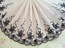 "1Y~8""~ Rare Black Floral Flower Bunch Wave Rim Lace Trim Dolls Dress Craft"
