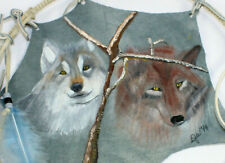 """Wolf Dream Catcher Hand Painted Stretched Leather Art Feathers 22"""""""
