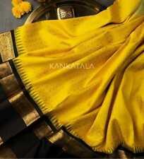 Banarasi Silk Saree Yellow New Sari Blouse Jacquard Work Indian Traditional Wear