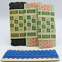 Kresges Green Oak Ric Rac Trim 3 Partial Packages Pink Black Blue Vintage 1950s