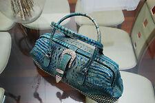 Raviani Western Turquoise Croc Leather Handbag Purse Swarovski Crystals