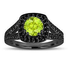 Peridot And Enhanced Fancy Black Diamonds Engagement Ring 14K Black Gold 1.56ct