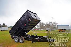 "NEW 2021 7x14 7 x 14 14K GVWR Hydraulic Dump Trailer Equipment Hauler 48"" Sides"