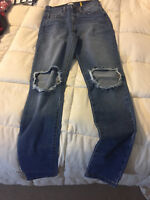 NEW WOMENS SNEAK PEAK BLUE DENIM JEANS HIGH RISE PANTS SIZE 1  NEW WITHOUT TAGS