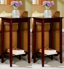 Tall End Table Set of 2 Coffee Stand Night Sofa Side Accent Home Furniture Brown