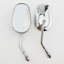 Motorcycle Chrome Oval Rear View Mirrors For Harley Cruiser Bobber Chopper New