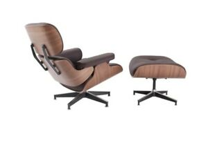 Walnut wood Lounge Chair & Ottoman with Brown leather