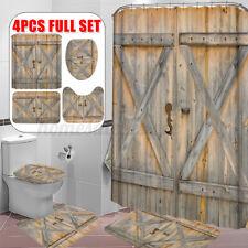 Vintage Wooden Gate Waterproof Shower Curtain Bathroom Toilet Cover Mat Rug Set