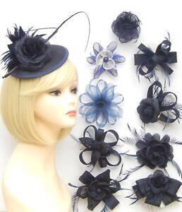 Navy Blue Fascinator Brooch Hair Feather Flower Wedding Prom Ladies Day Races UK
