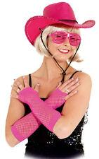 Netzhandschuhe lang neon-pink NEU - Zubehör Accessoire Karneval Fasching