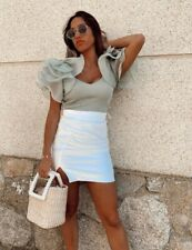 Zara Green Knit Crop Top Organza Ruffle Sleeves Size S
