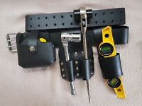 Scaffolding BLACK Leather TooL Belt Double Spanner Level Tape Holder Tools Set