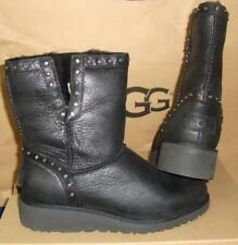 UGG Australia CYD Black Leather Studded Wedge Boots Size US 6,EU 37 NIB #1013854