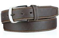 Echt Jeans-Gürtel Herren Damen Jeans Näthe Leder Gürtel Schwarz Braun 4 cm NEU