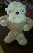 "Plush Rushton & Co 18"" Brown He-Man Bull Dog Plastic Eyes Nose Vtg red collar Q8"
