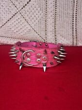 Spiked Studded PINK PU Leather Dog Collar Pit Bull BLACK L XL for LARGE BREEDS