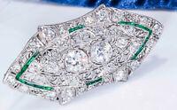 Platinum French Art Deco 4 Ct French Cut Emerald Diamond Set Brooch Pin Pendant