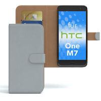 Tasche für HTC One M7 Case Wallet Schutz Hülle Cover Hellgrau