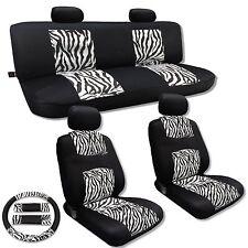 Knit Mesh White Zebra Accent Car Seat Covers Set Animal Print Stripes CS2