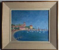 Antique Oil Impressionist Painting French Seascape Harbor DUFY