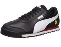 PUMA Scuderia Ferrari Roma Black White logo Leather Casual Sneakers Shoes NEW