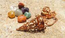 Copper Plated Cone Witness Chamber Dowsing Pendulum Moon design Chakra Stones