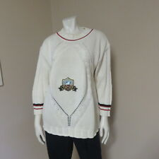 MONDI FASHION THE COMPANY SWEATER TOP LADIES WOMEN'S BEIGE/NAVY/RED SIZE 36 US 6
