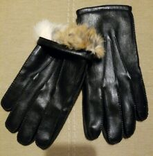 New Mens 100 % Fur Lining Soft Warm Gloves Black M