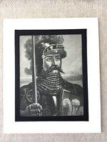 1900 Antico Stampa Edward The Nero Principe Medievale Cavaliere Ritratto Pittura