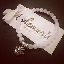White jade ladybird charm bracelet gemstone bijoux jewellery boho gypsy summer